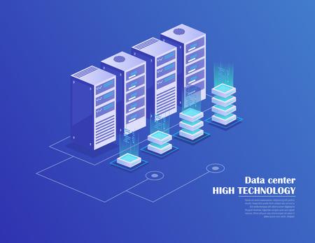 Web hosting e elaborazione di big data, rack per sala server. Data center, tecnologia di archiviazione cloud. Concetto di stazione energetica. Illustrazione vettoriale isometrica.