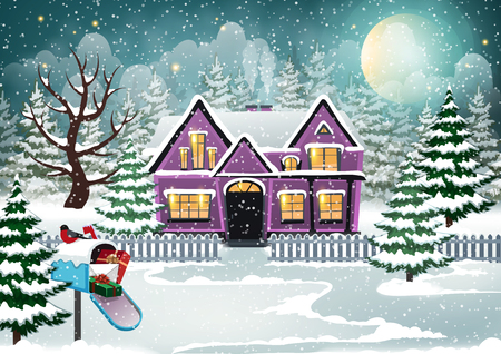 Winter village background with snow covered house and Christmas gifts in the mailbox Banque d'images - 113081572