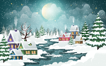 Evening city winter landscape with snow-covered houses and  frozen river on the foreground. Christmas holidays vector illustration.