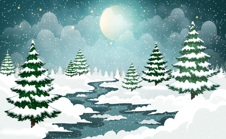 Christmas landscape with snowy forest. Winter scene with snowy trees. Frozen river and pine forest. Trees covered with snow and ice.