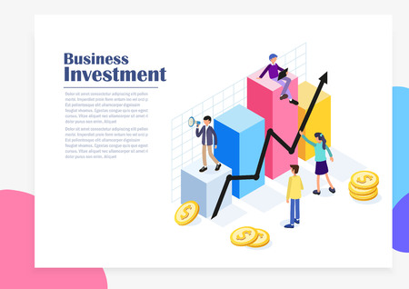 Business Data Analysis Isometric Concept with Flat People Characters, charts and graphs. Website Landing Page Template. Flat Vector Illustration