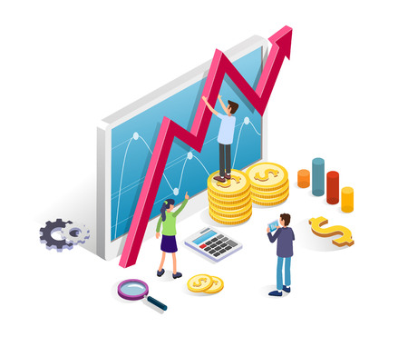 Business Intelligence and Data Analysis isometric concept. Business people with tablet and financial charts on a white background. Online team management. Flat style vector illustration  イラスト・ベクター素材