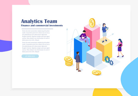 Marketing, Financial investments, innovation, analysis, business concept flat illustration. Business People Teamwork analyze business strategy. Web page, banner, presentation, landing page template.  イラスト・ベクター素材