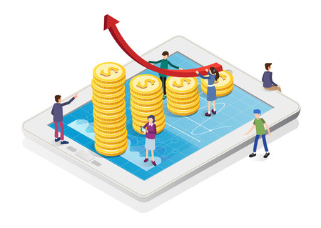 Isometric business infographic on tablet. Business team analysis financial graph with data and investment. Flat style vector illustration