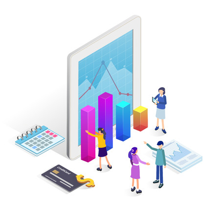 Business concept for banner and website. Business team of data analysis, management,  analysis of sales, business statistic, business analysis, planning, development. Isometric landing page template.  イラスト・ベクター素材