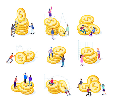 Creative business team work concept. Business people with coins and graphs. Business Investment set of isometric icons. Isolated vector illustration. Business Concept Illustration  イラスト・ベクター素材