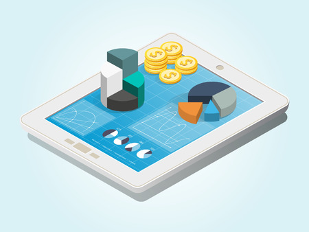 Computer tablet showing a spreadsheet with charts, graphs and coins. Data analysis, Landing page template. Isometric vector illustration  イラスト・ベクター素材