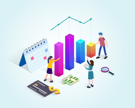 Business consulting team. People with financial charts. Business planning, data processing and analysis.  Isometric landing page template. Flat vector illustration  イラスト・ベクター素材