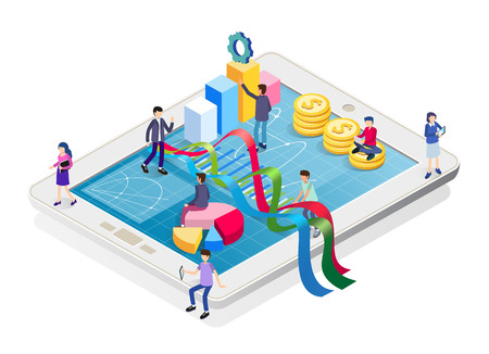 Finance and Commercial Investments concept. Isometric business infographic on tablet with people and graphs. Landing page template. Flat style vector illustration