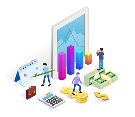 Financial administration concept with business people, tablet, money and financial charts for web banner, infographics. landing page template. Flat isometric vector illustration.