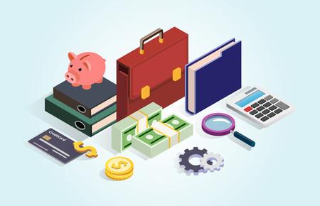 Business portfolio, money, credit card, piggy. Financial statistics, money saving, analysis, management flat isometric vector concept illustration. Isometric icons for business.