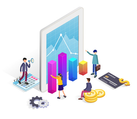 Online banking modern concept with people, tablet and financial charts  for web banner, infographics, landing page template. Flat isometric illustration.  イラスト・ベクター素材