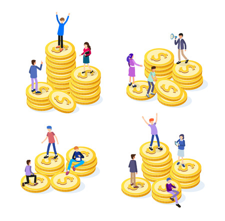 Creative business team work concept. Business people with coins. Business Investment set of isometric icons. Isolated vector illustration. Business Concept Illustration