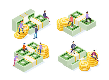 Creative business team work concept. Business people with coins and currency. Business Investment set of isometric icons. Isolated vector illustration. Business Concept Illustration