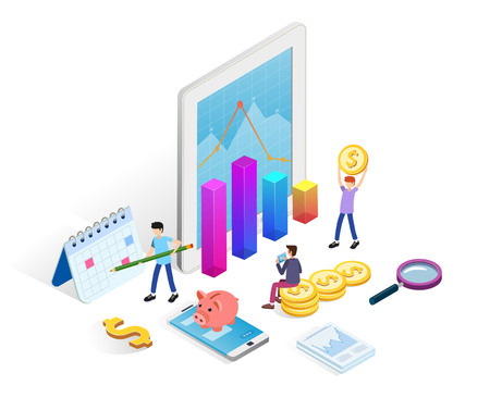 Business data analysis infographic concept with people, money, statistics charts on white background. Landing page template for website. Isometric vector illustration.  イラスト・ベクター素材