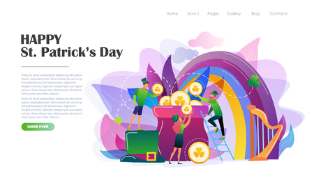 St. Patricks Day concept with people in leprechaun costumes, rainbow, pot of gold coins. Website landing page design template, brochure, holiday invitation. Flat style vector illustration.  イラスト・ベクター素材