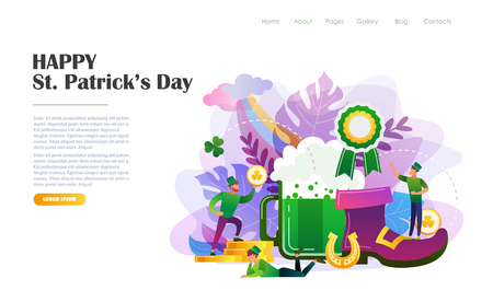 St. Patricks Day concept with people in leprechaun costumes, beer mug, shoe, horseshoe. Website landing page design template, brochure, holiday invitation. Flat style vector illustration.
