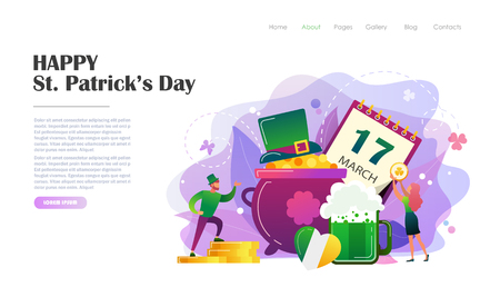St. Patricks Day concept with people in leprechaun costumes, pot of gold coins, mug of beer. Website landing page design template, brochure, flyer, holiday invitation. Flat style vector illustration.