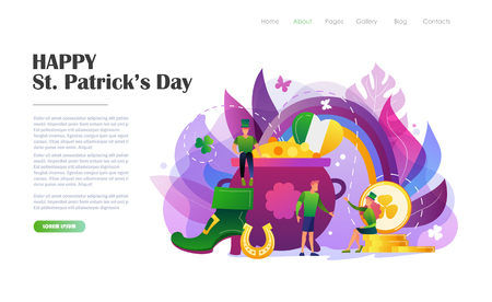 St. Patricks Day concept with people in leprechaun costumes, rainbow, pot of gold coins. Website landing page design template, brochure, flyer, holiday invitation. Flat style vector illustration.