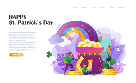 St. Patricks Day concept with people in leprechaun costumes, pot of gold coins, horseshoe, rainbow. Website landing page design template, brochure, flyer, holiday invitation. Flat style vector illustration.