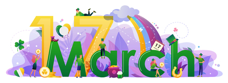 St. Patricks Day concept with people in leprechaun costumes, rainbow, gold coins, horseshoe.  Website landing page design template, brochure, holiday invitation. Flat style vector illustration.