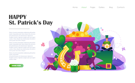 St. Patricks Day concept with people in leprechaun costumes, pot of gold coins, hat, horseshoe . Website landing page design template, brochure, flyer, holiday invitation. Flat style vector illustration.