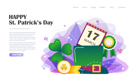 St. Patricks Day concept with hat, gold coins, clover. Website landing page design template, brochure, holiday invitation. Flat style vector illustration.