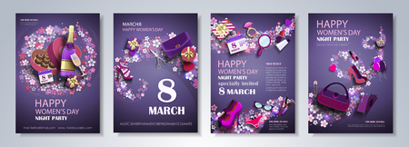 International Womens Day 8 march party flyer, brochure, holiday invitation, corporate celebration. Flower waves with Womens Accessories on purple background. Vector illustration.  イラスト・ベクター素材