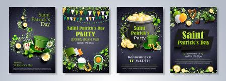Saint Patricks Day party flyer, brochure, holiday invitation, corporate celebration. leprechaun hat, shamrock, pot with gold coins, horseshoe, green ale on black background. Vector illustration.