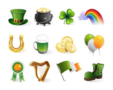 St. Patricks Day icons set. Holiday symbols isolated on white background  イラスト・ベクター素材