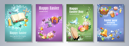 Traditional Christian Easter symbols on colorful backgrounds. Happy Easter Day flyer, brochure, holiday invitation, corporate celebration. Vector illustration.  イラスト・ベクター素材