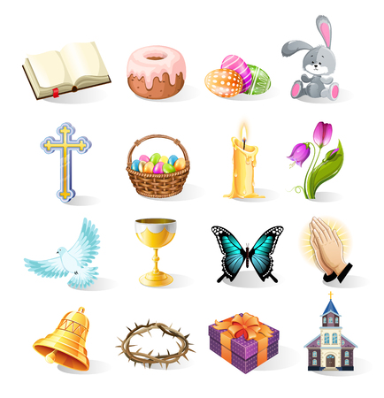 Happy Easter icons and objects. Collection of Religious Christian Items. Vector illustration Set.