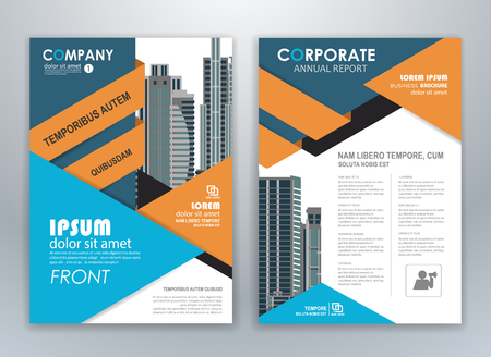 Blue and orange annual report brochure flyer design template. Leaflet cover presentation abstract background for business, magazines, posters, booklets, banners.