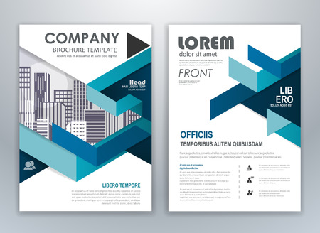 Blue annual report brochure flyer design template. Leaflet cover presentation abstract background for business, magazines, posters, booklets, banners. Layout in A4 size. Easily editable vector format.  イラスト・ベクター素材