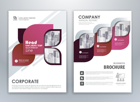 Purple annual report brochure flyer design template. Leaflet cover presentation abstract background for business, magazines, posters, booklets, banners. Layout in A4 size. Easily editable vector forma