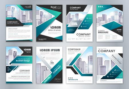 Set di modello di progettazione volantino brochure relazione annuale. Fondo astratto di presentazione della copertura dell'opuscolo per affari, riviste, poster, opuscoli, striscioni. Formato vettoriale facilmente modificabile.