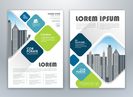 Blue and green annual report brochure flyer design template. Leaflet cover presentation abstract background for business, magazines, posters, booklets, banners. Easily editable vector format.