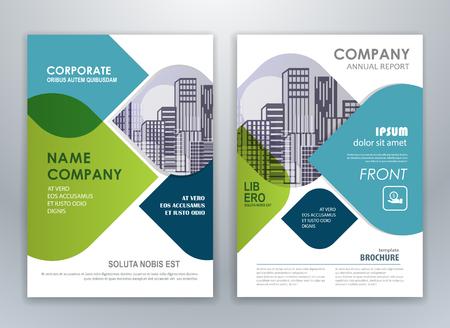 Plantilla de diseño de folleto flyer de informe anual azul y verde. Fondo abstracto de presentación de portada de folleto para negocios, revistas, carteles, folletos, pancartas.