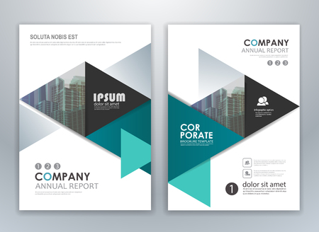Blue annual report leaflet brochure flyer template design, layout design, abstract business presentation template design.  イラスト・ベクター素材