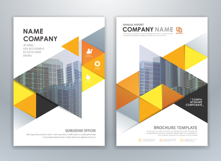 Yellow annual report leaflet brochure flyer template design, layout design, abstract business presentation template design.