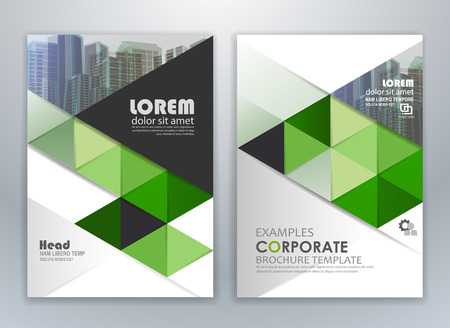 Green annual report leaflet brochure flyer template design, layout design, abstract business presentation template design.
