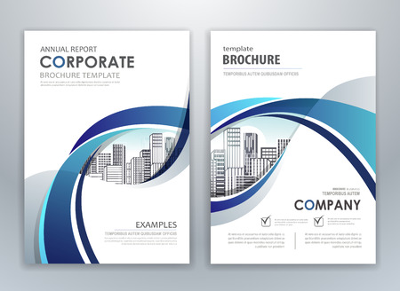 Blue annual report leaflet brochure flyer template design, book and magazine cover layout design, abstract business presentation template design.