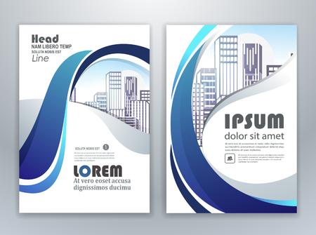 Progettazione del modello di volantino opuscolo dell'opuscolo di relazione annuale blu, progettazione del layout di copertina di libri e riviste, progettazione di modelli di presentazione aziendale astratta. Vettoriali