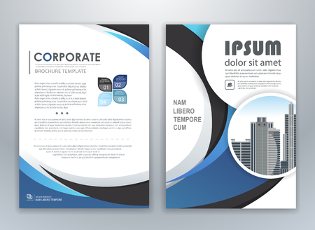 Blue annual report leaflet brochure flyer template design, book and magazine cover layout design, abstract business presentation template design. Easily editable vector format.  イラスト・ベクター素材