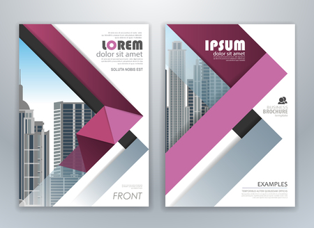 Purple annual report brochure flyer design template. Leaflet cover presentation abstract background for business, magazines, posters, booklets, banners. Easily editable vector format.  イラスト・ベクター素材