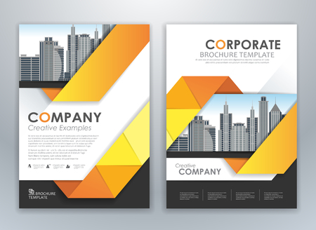 Yellow annual report leaflet brochure flyer template design, book and magazine cover layout design, abstract business presentation template design. Easily editable vector format.