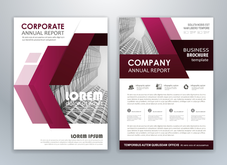 Purple annual report brochure flyer design template. Leaflet cover presentation abstract background for business, magazines, posters, booklets, banners. Easily editable vector format