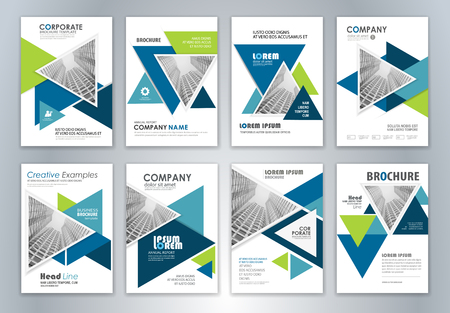 Set of annual report brochure flyer design template. Leaflet cover presentation abstract background for business, magazines, posters, booklets, banners. Easily editable vector format.
