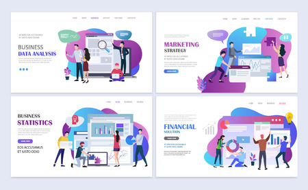 Landing pages template set of partnerships, business meeting, teamwork and brainstorming. Business success concept. Modern flat design concept. Web page design for website and mobile website. Flat vec  イラスト・ベクター素材