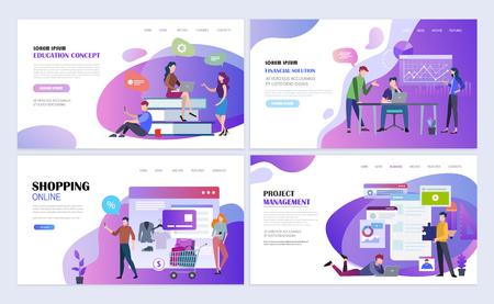 Landing pages template set for education, business, online shopping, project management. Modern flat design concept. Web page design for website and mobile website. Flat vector illustration.